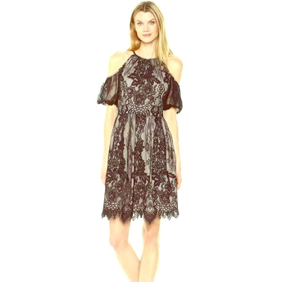 c3e59cf7551 Maggy London Chantilly Lace Cold Shoulder Dress